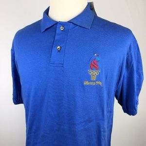 NEW 1996 Atlanta Olympics Blue Polo Shirt Large
